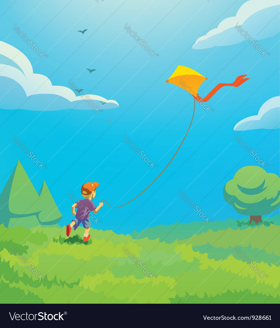 Kid with kite vector image