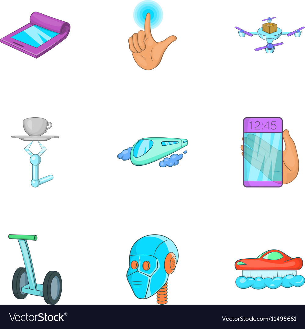 New feature icons set cartoon style vector image