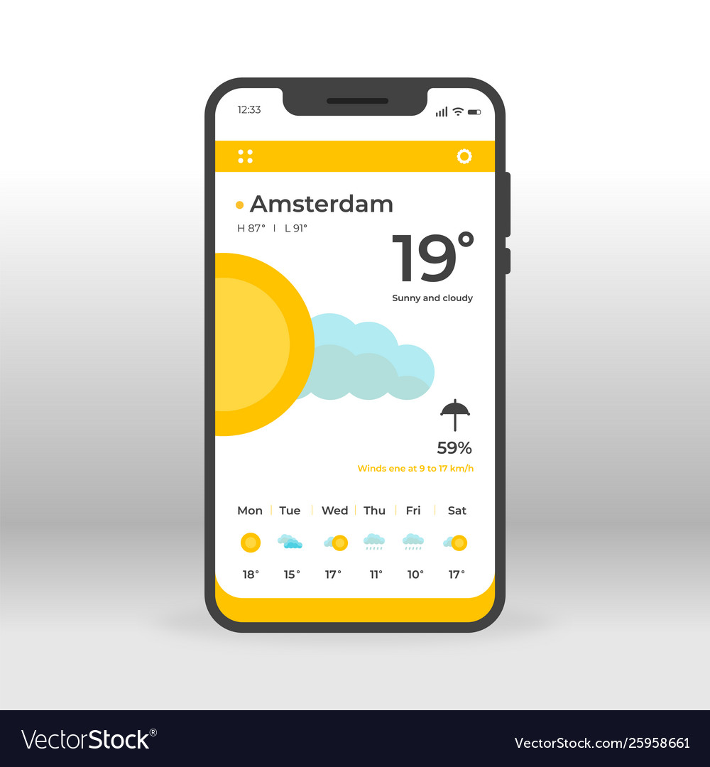 Orange and yellow weather ui ux gui screen for
