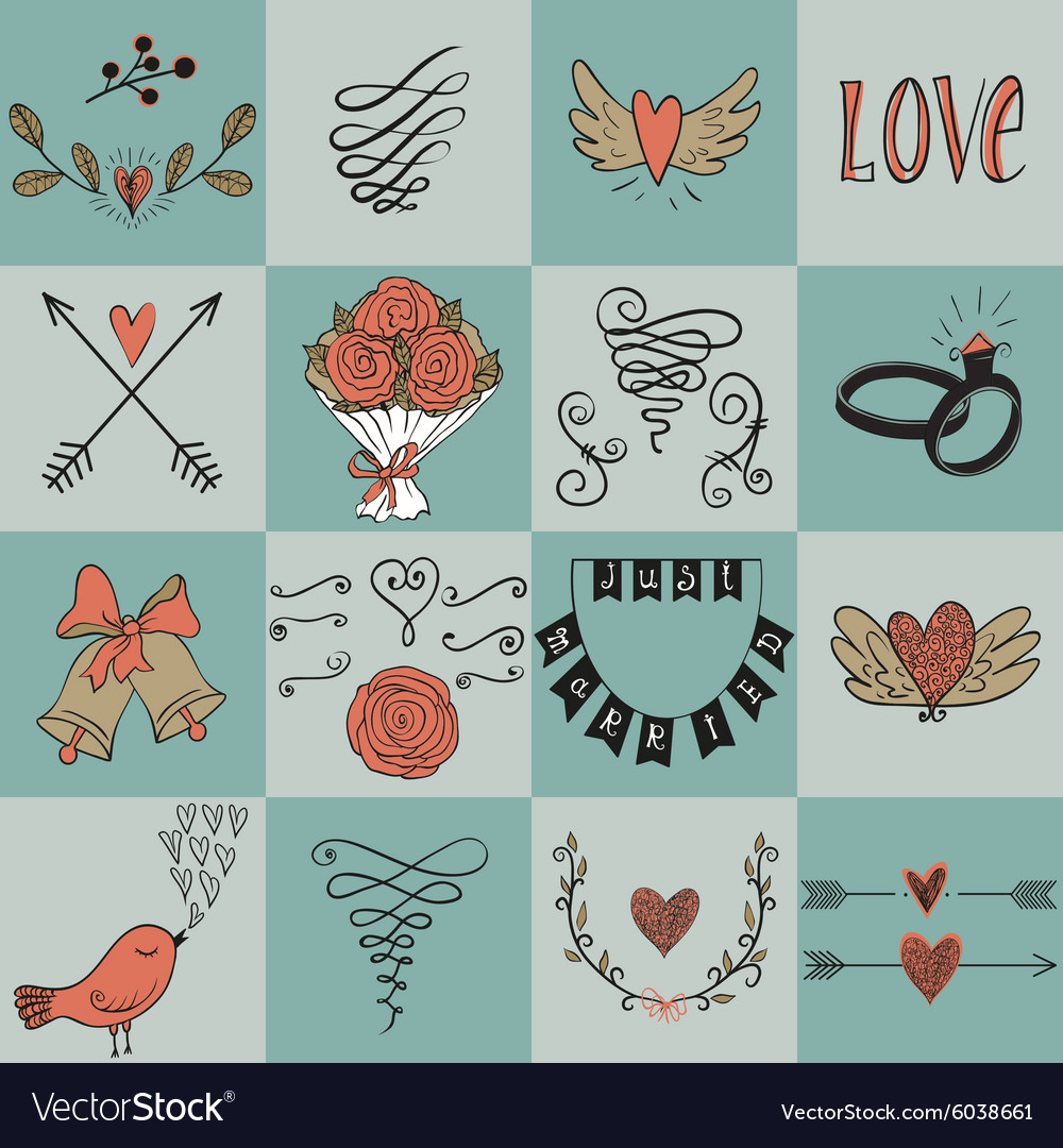 Set of icons for Valentines day Mothers day