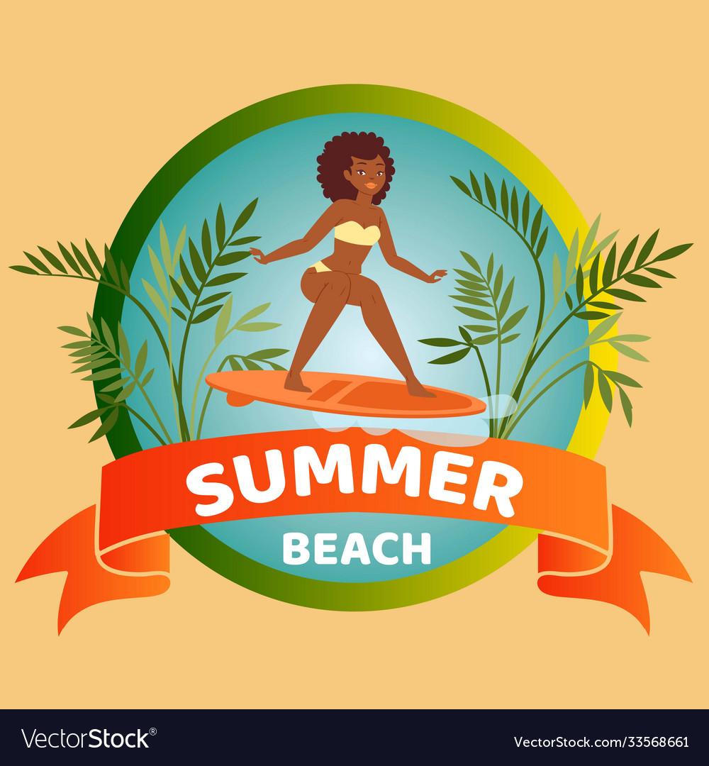 Summer beach banner lettering background