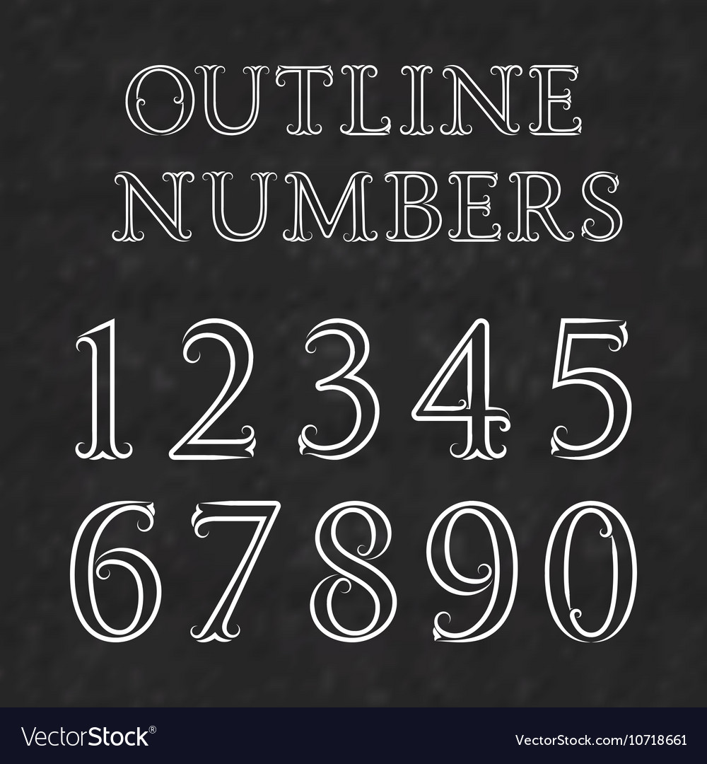 vintage outline numbers with flourishes numbers in