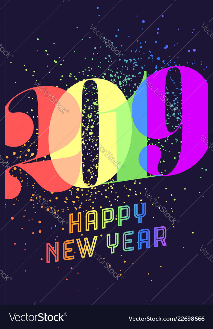 2019 happy new year greeting card with colorful
