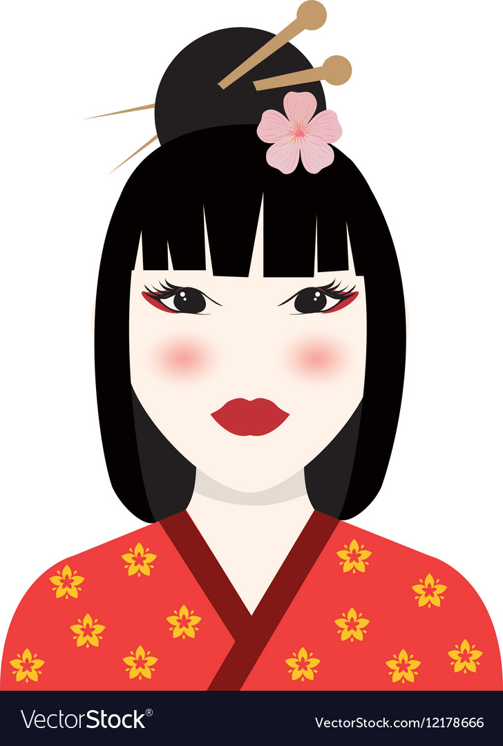 Beautiful geisha face vector image