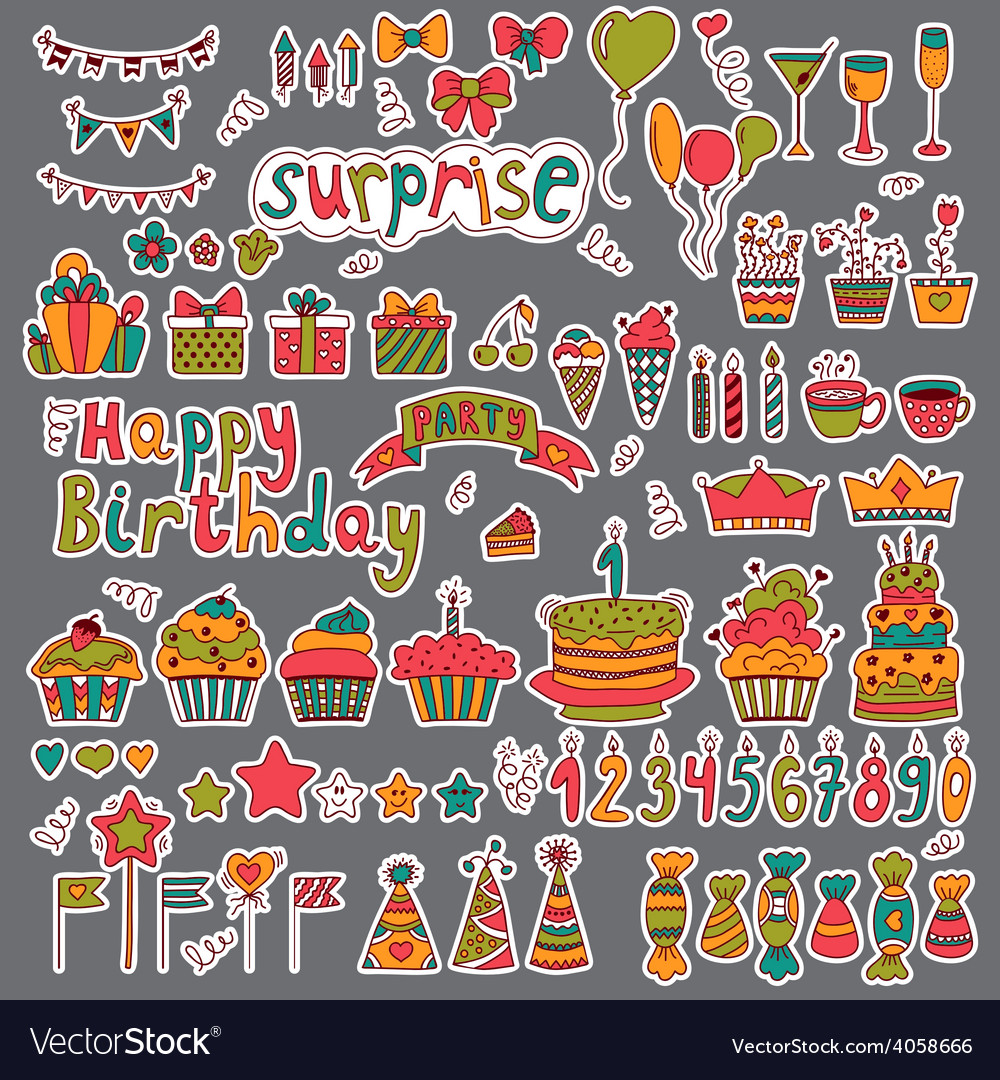 Birthday party design Cute hand drawn elements on