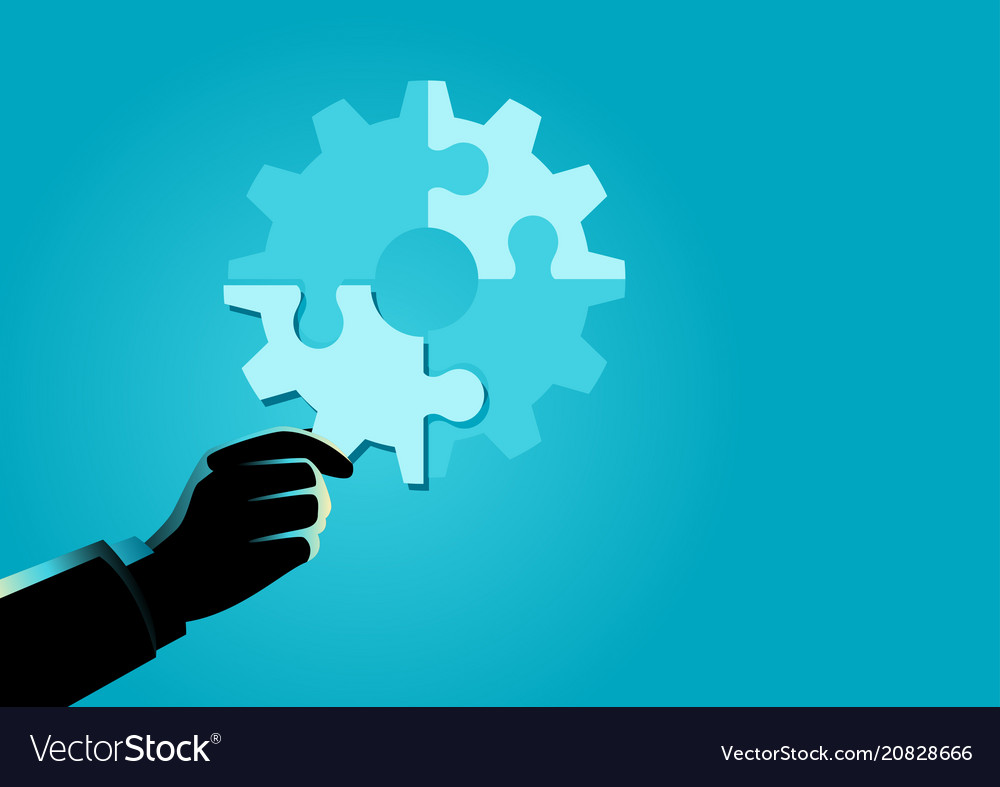Businessman hand holding the final piece of puzzle vector image