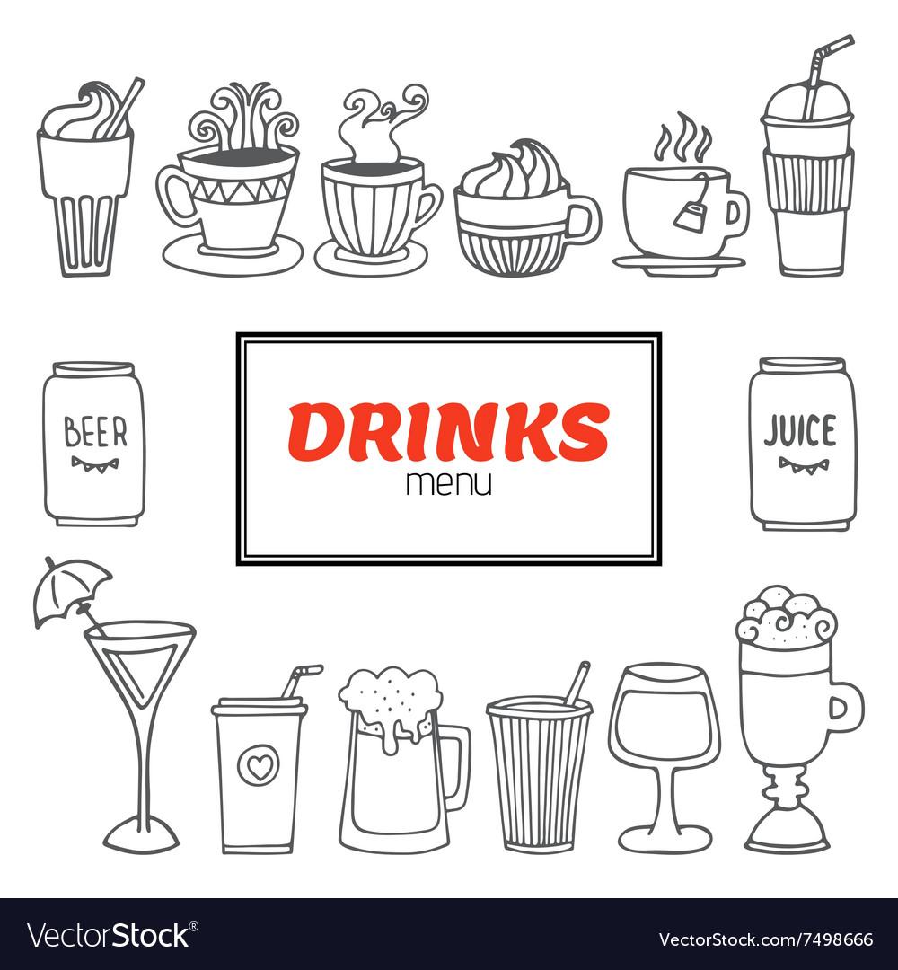 Drinks and beverages hand drawn set Drinks menu