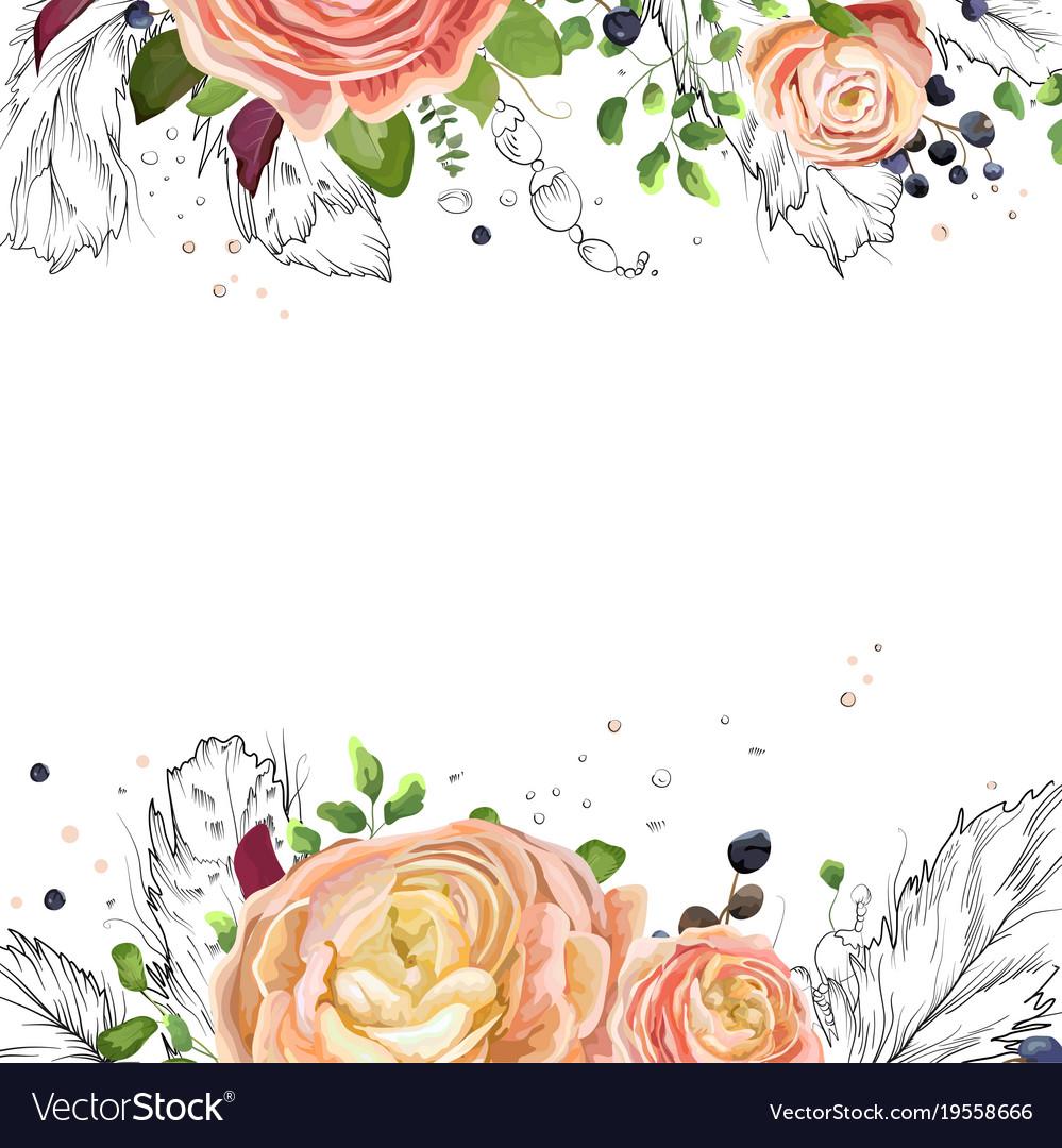 Floral watercolor card design pink peach roses