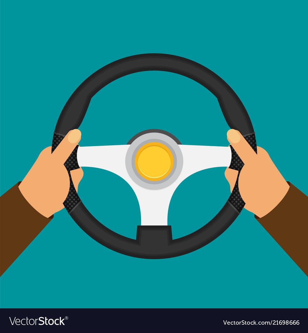 hands holding steering wheel in flat style vector image vectorstock