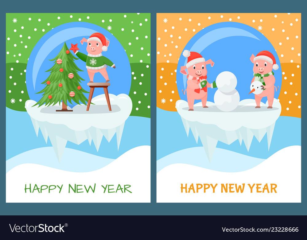Happy new year pig decorating christmas tree set