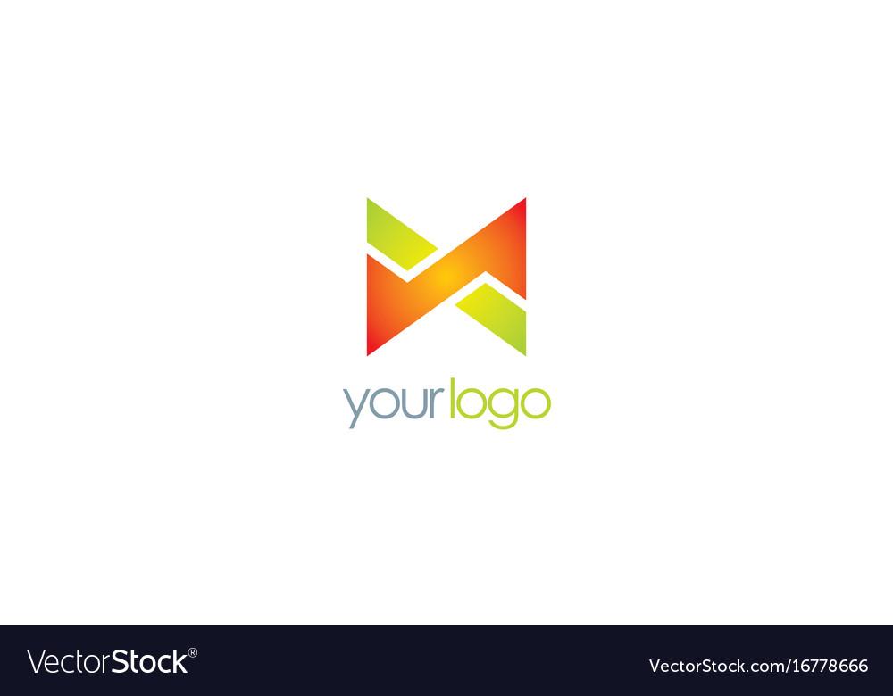 Letter x shape color logo vector image