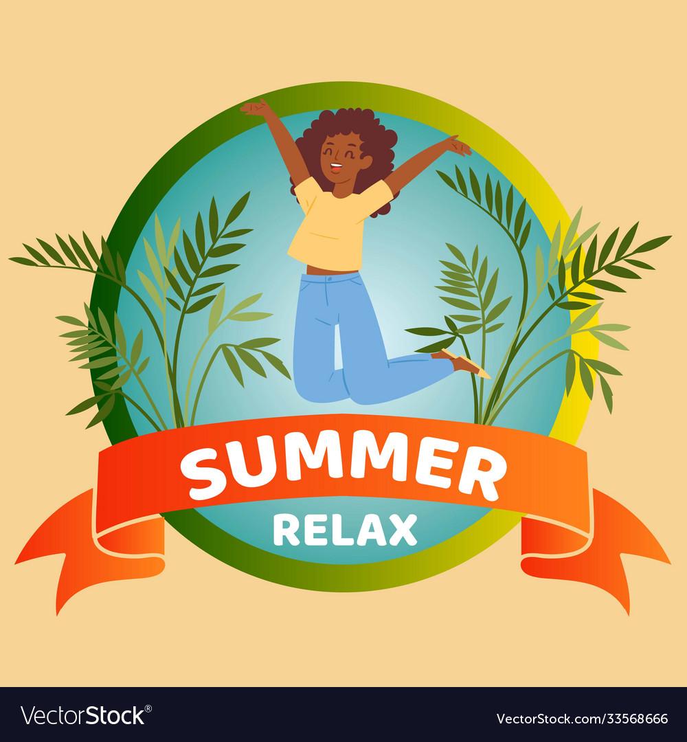 Summer relax banner inscription tropical