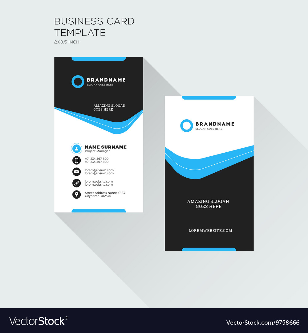 Vertical business card print template personal vector image flashek Images
