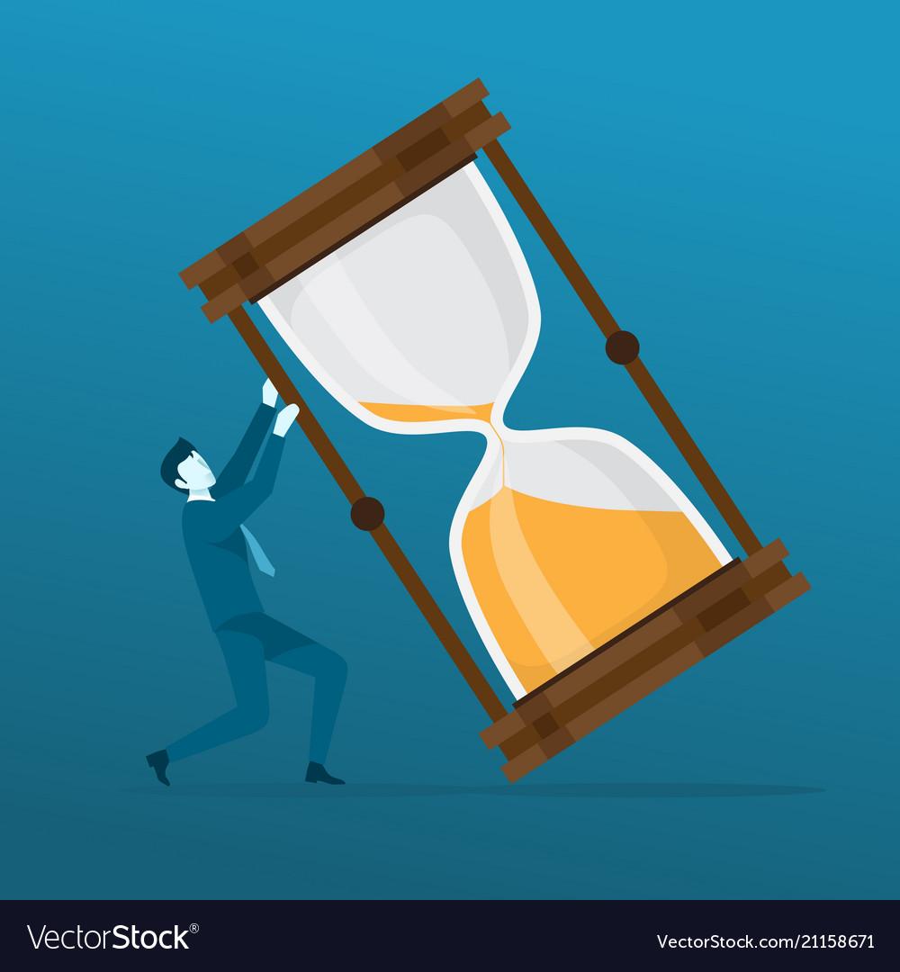 Businessman pushing big hourglass from falling