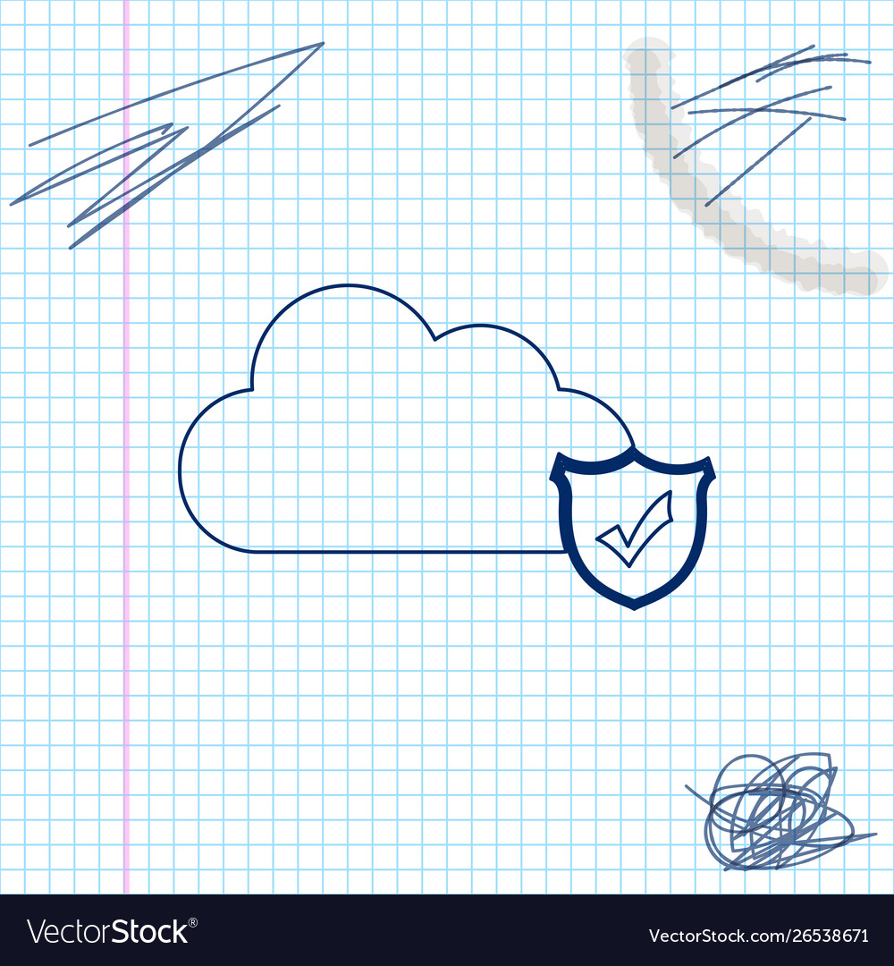 Cloud and shield with check mark line sketch icon
