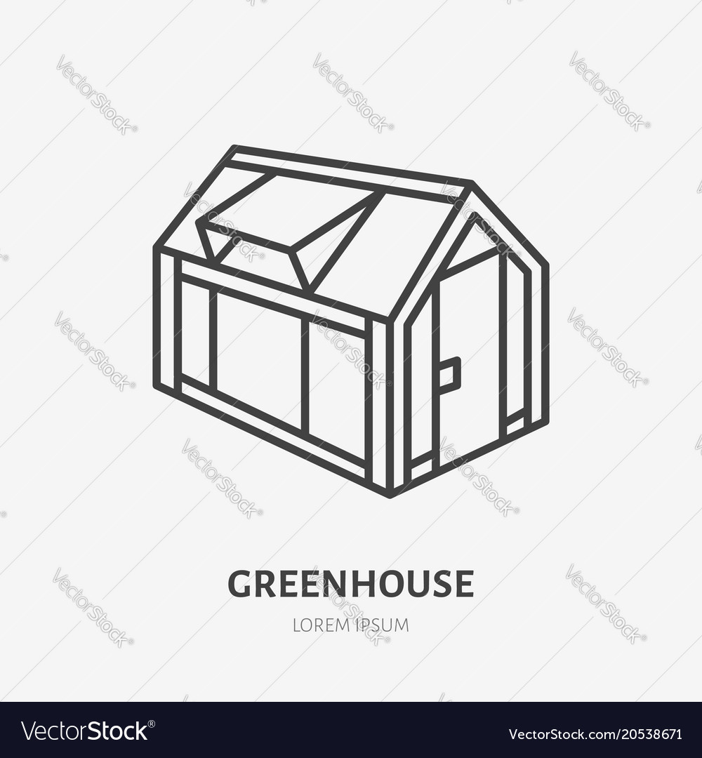 Greenhouse flat line icon garden cold frame sign Vector Image