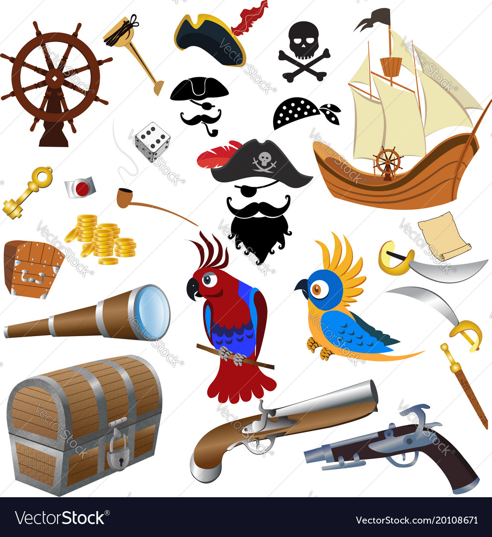 Pirate icons detailed set