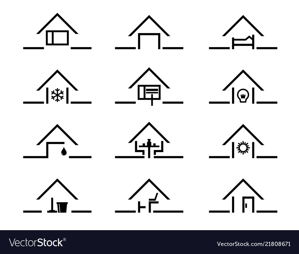 Set of house silhouette in different settings