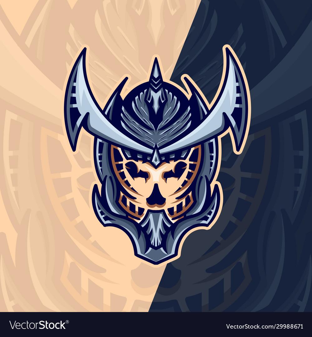 Skull mask esport logo design with modern concept