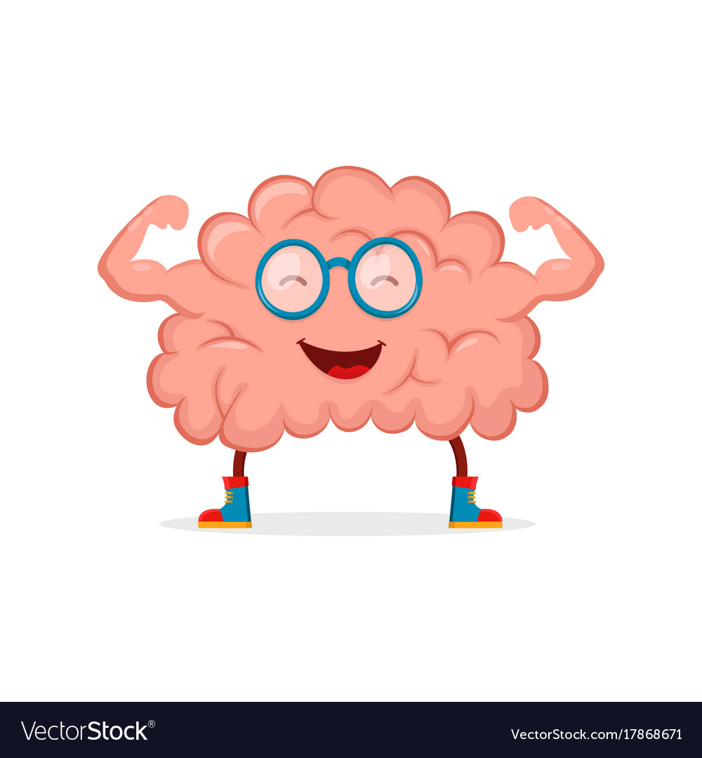 Strong happy healthy brain character