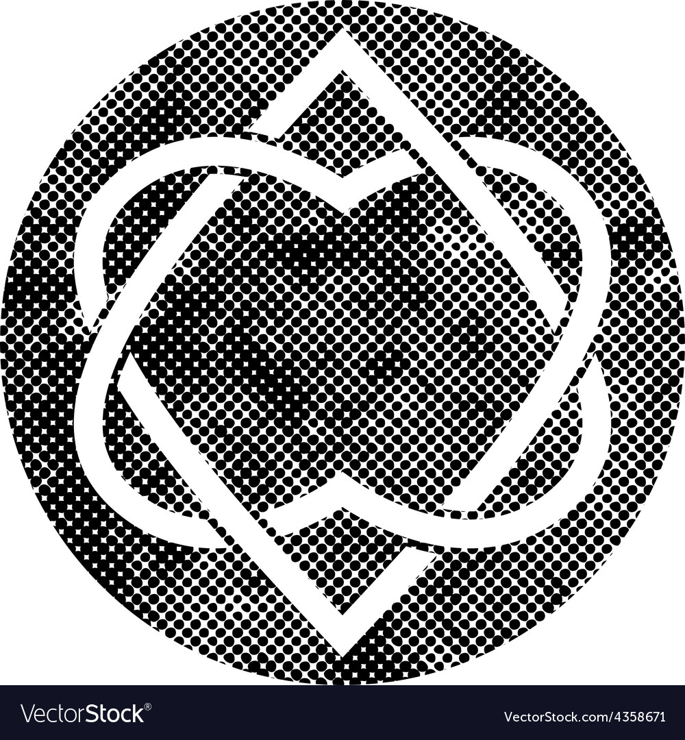 Two hearts linked symbol with pixel print halftone vector image