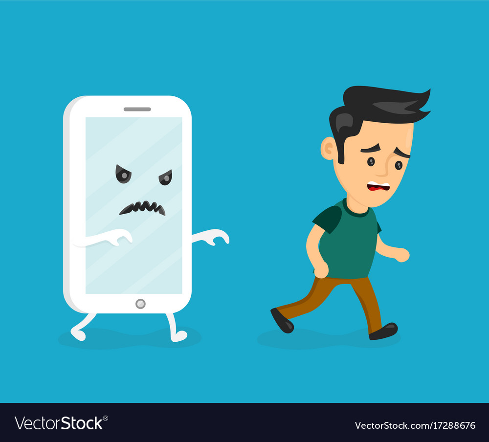Angry scary smartphone run for young man