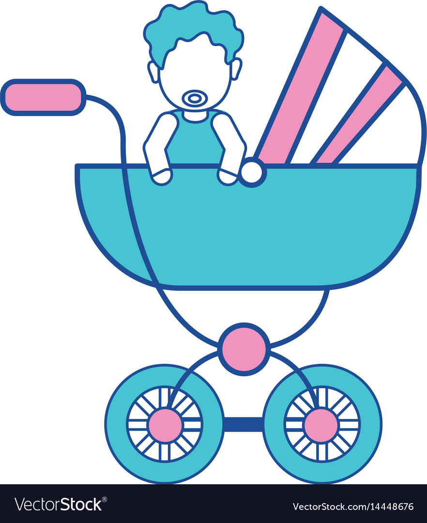 Baby girl with hairstyle inside carriage vector image