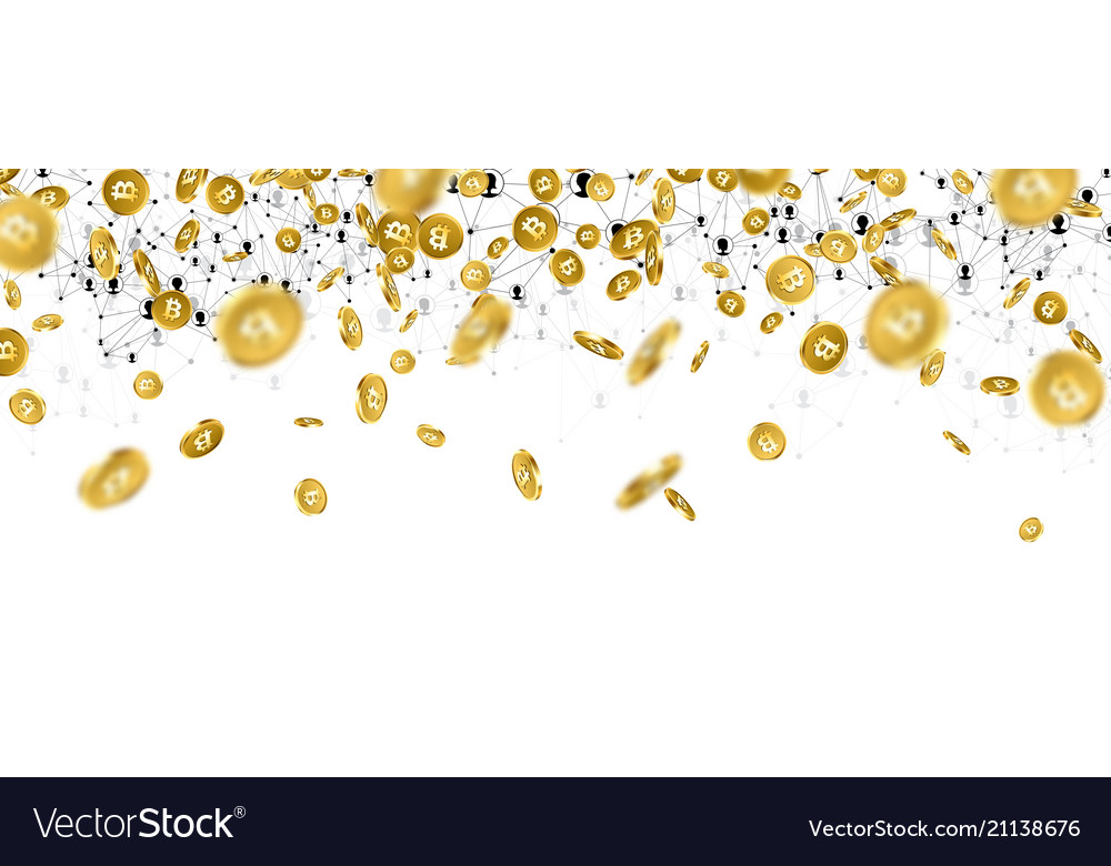 Banner with falling gold bitcoins