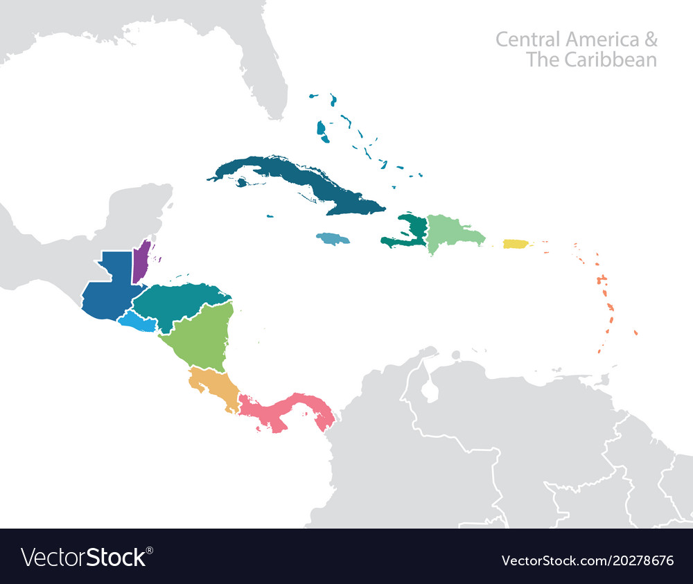 Central america and the caribbean map Royalty Free Vector