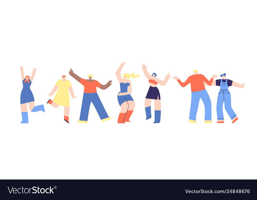 Clubbing Dancing People Flat Disco Fest Cartoon Vector Image