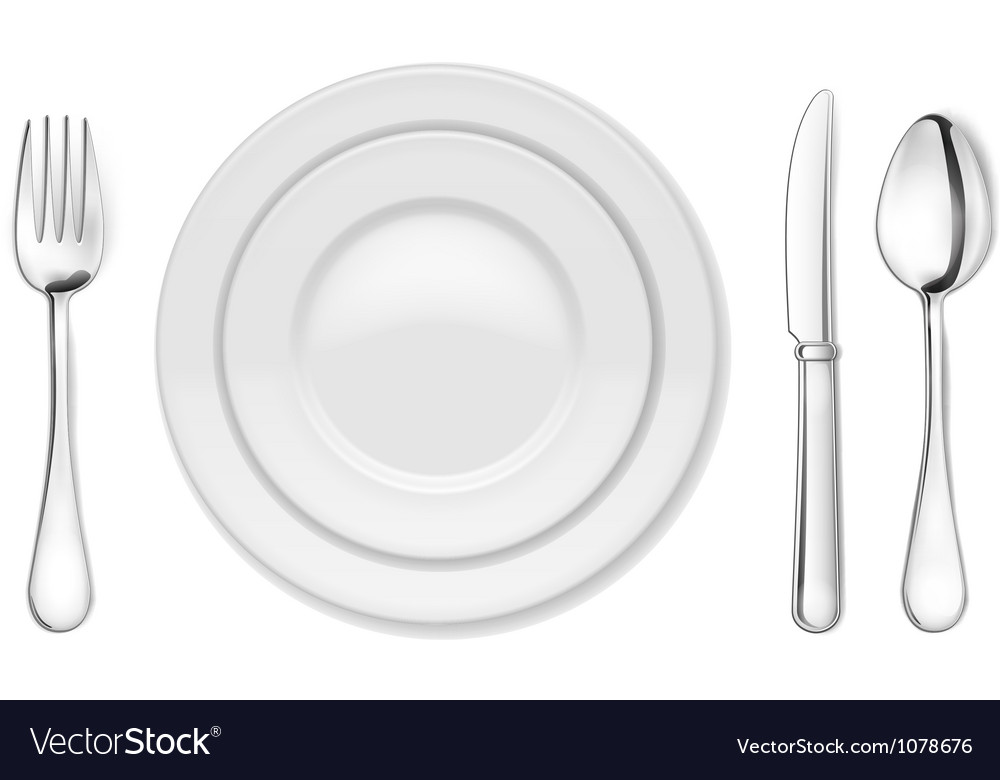 Dinner plate knife fork and spoon vector image
