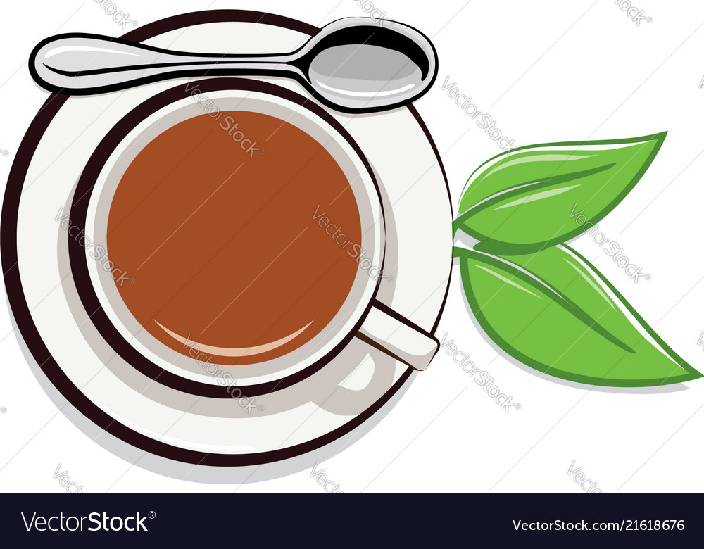 Drawing of cup of tea and green leaves