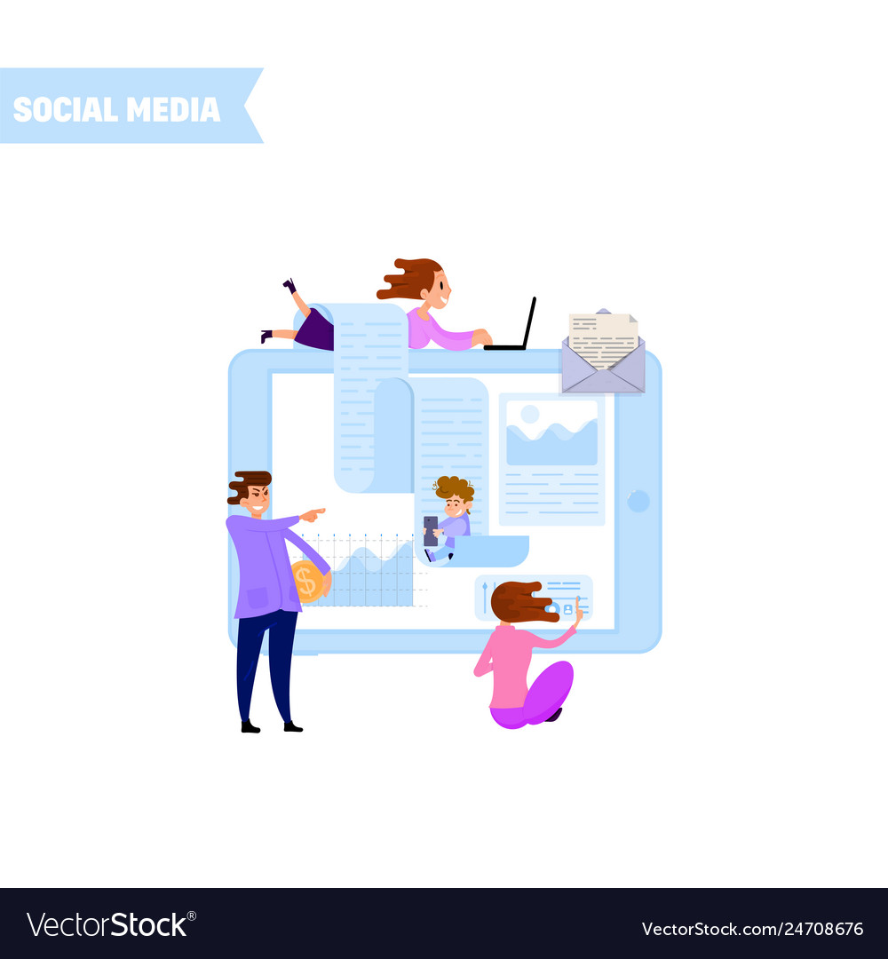 Manage social media account - concept tiny people