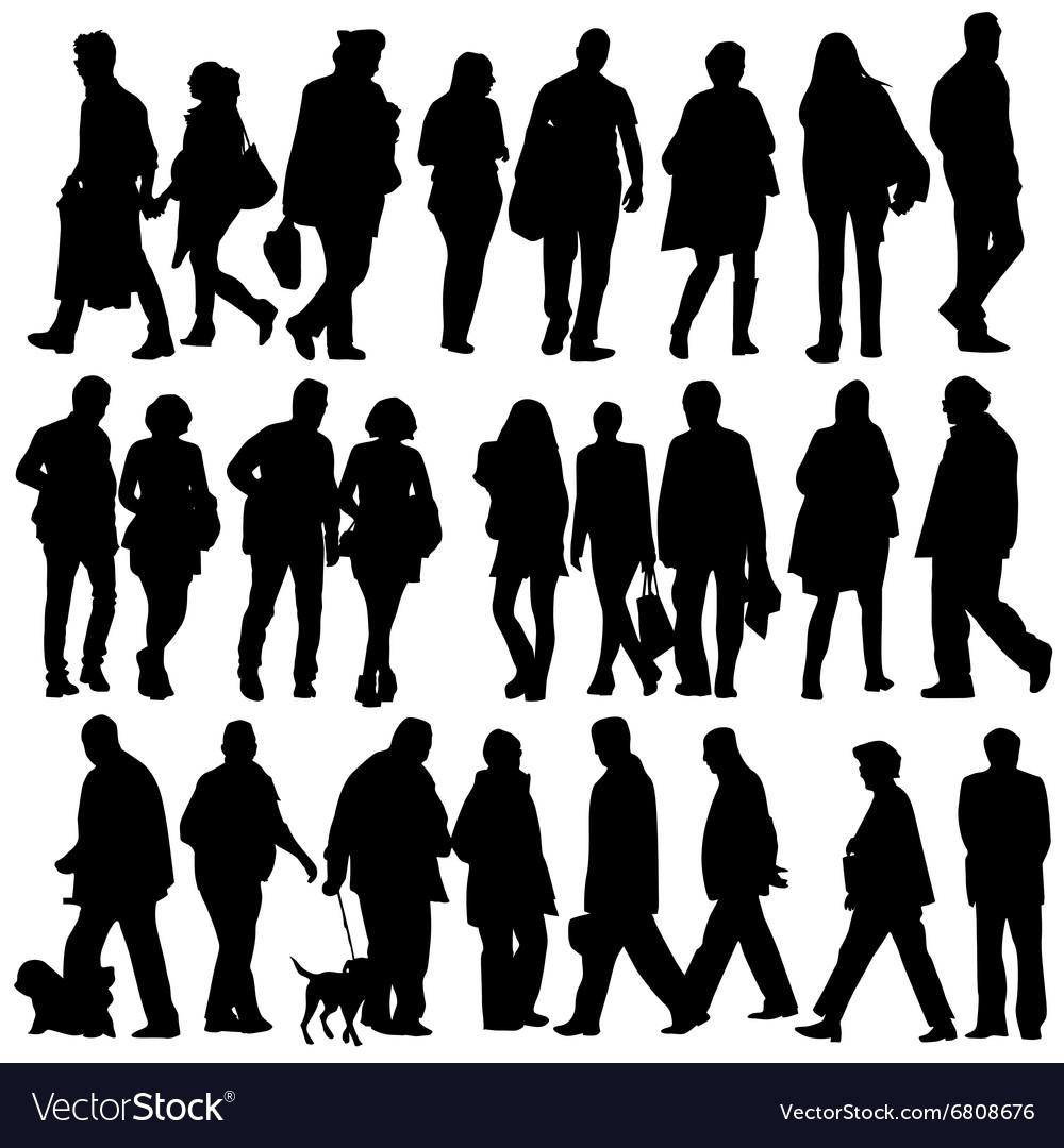 People silhouette walking Royalty Free Vector Image | 1000 x 1080 jpeg 138kB