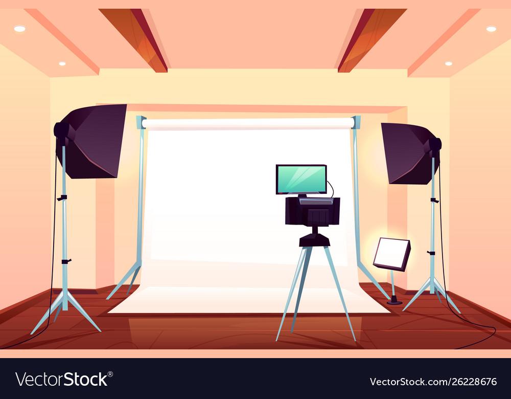 Professional photo studio interior cartoon