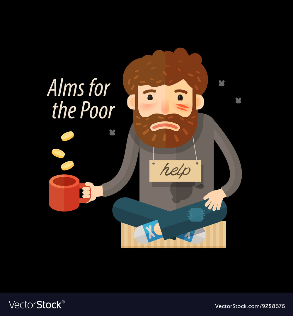 Street beggar Unemployed or homeless icon Alms vector image