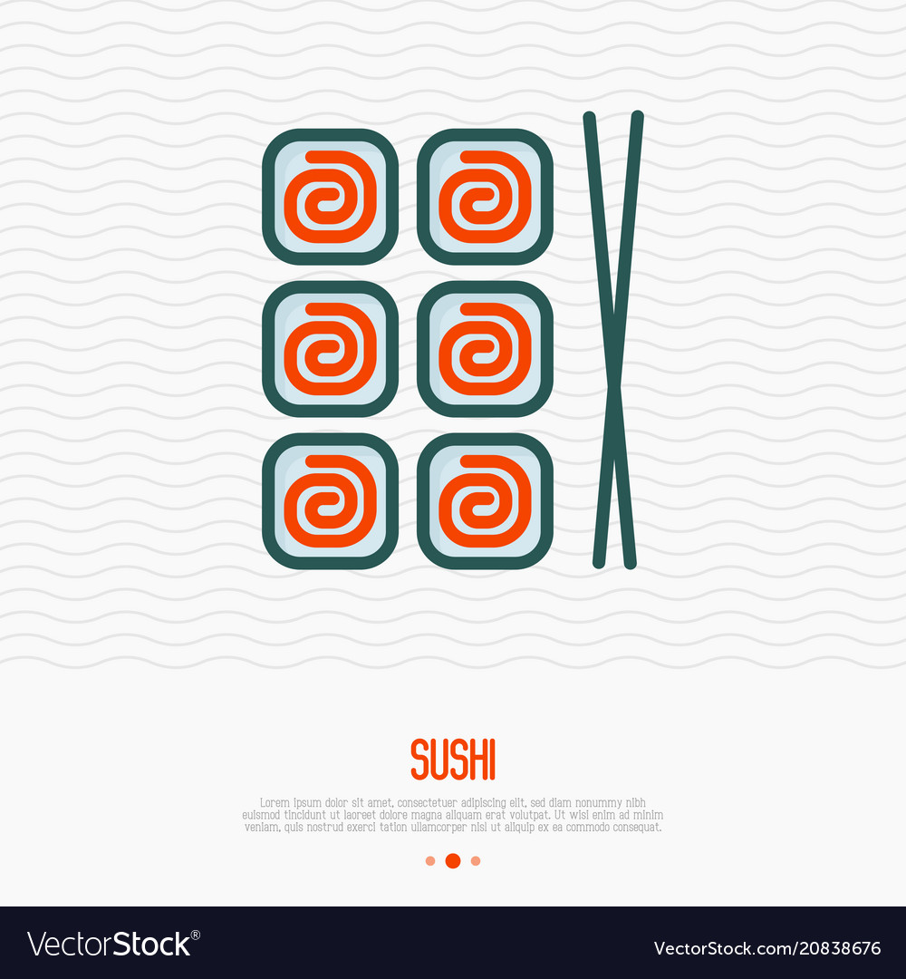 Sushi with chopsticks thin line icon