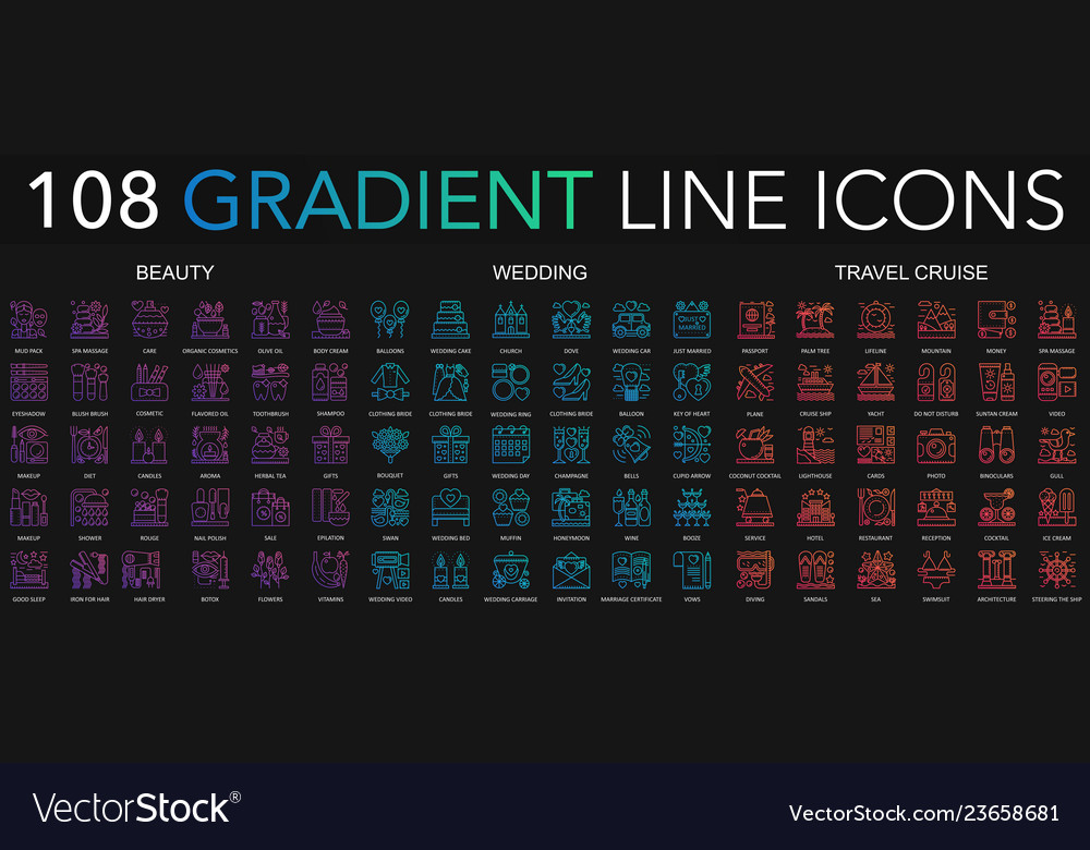 108 trendy gradient style thin line icons set of