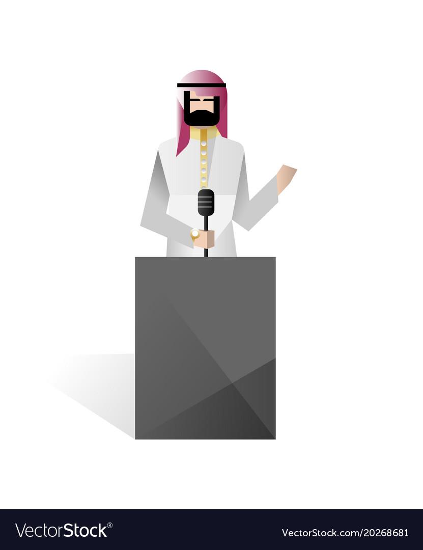 Bearded arabic businessman speech on tribune