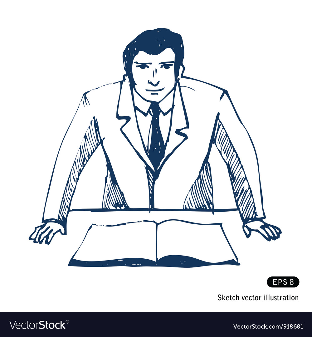 Businessman sketch vector image
