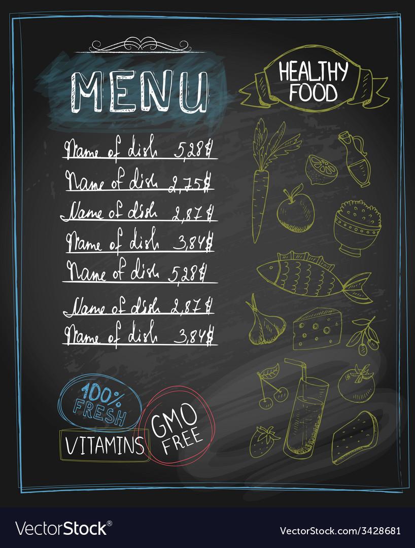 Chalkboard healthy food menu vector image