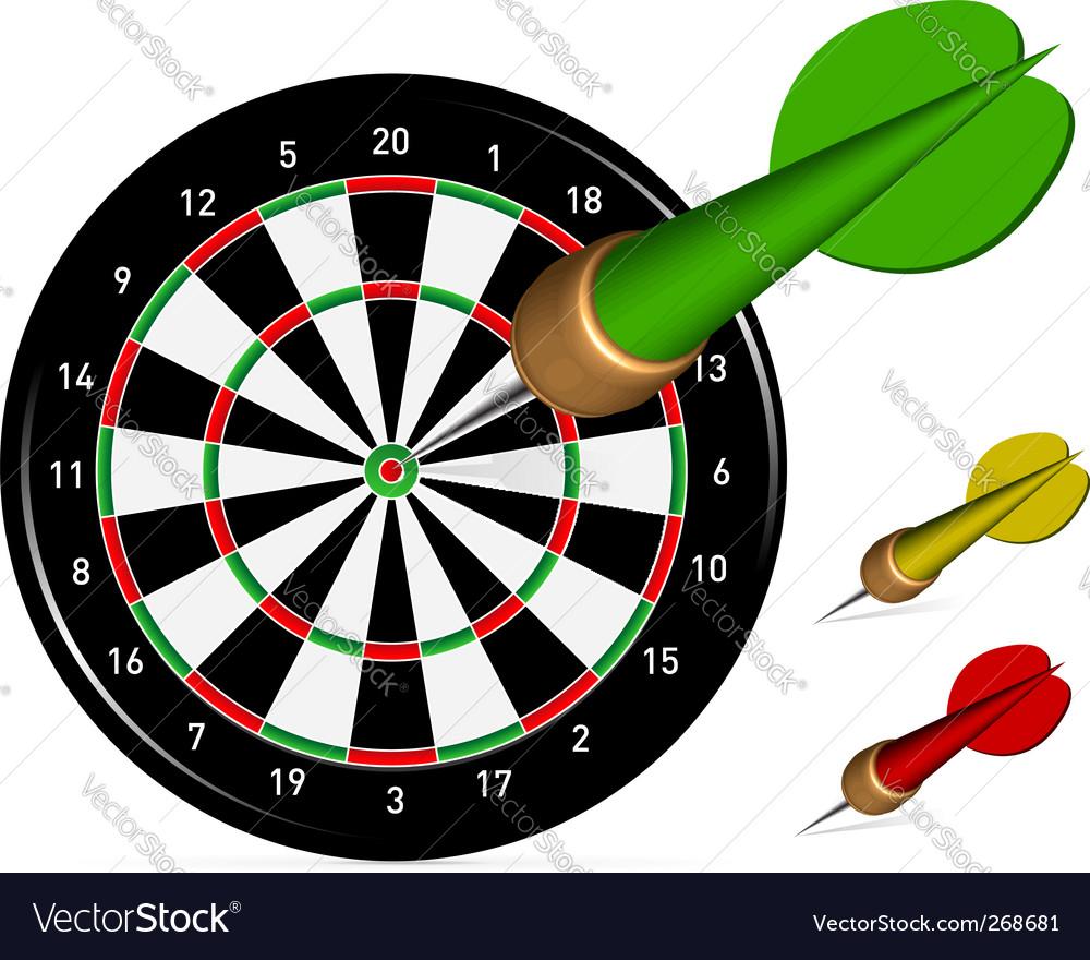 Dartboard with darts vector image
