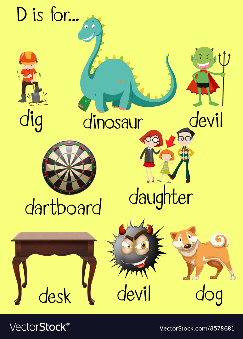 different words for letter d vector image