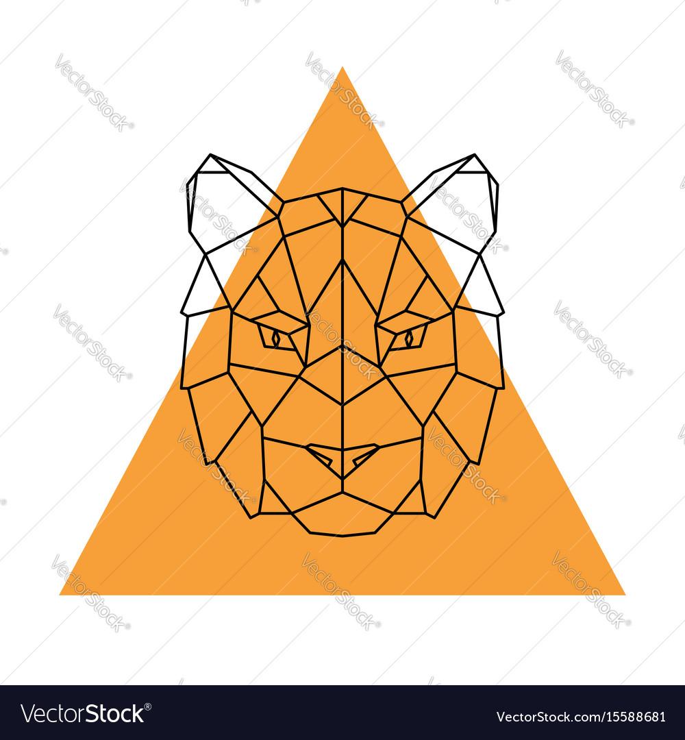 Geometric head tiger wild animal vector image
