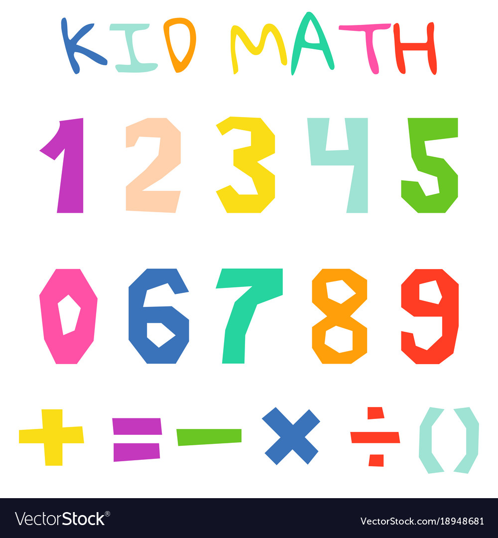 Kid math numerals and count bright signs