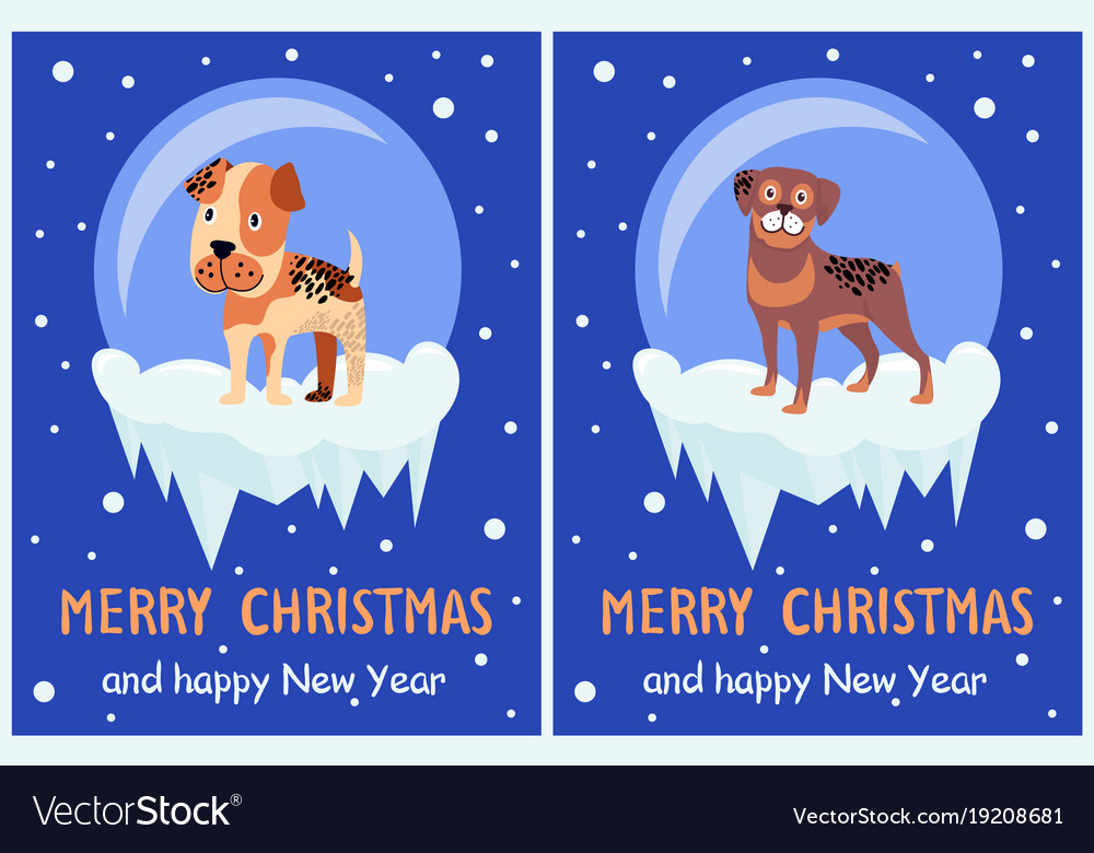Merry Christmas Puppies.Merry Christmas And Happy New Year Posters Puppies