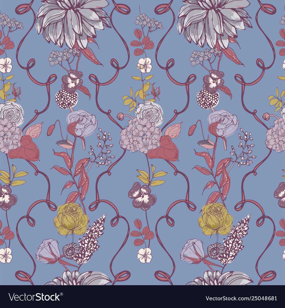 Romantic seamless pattern with beautiful blooming
