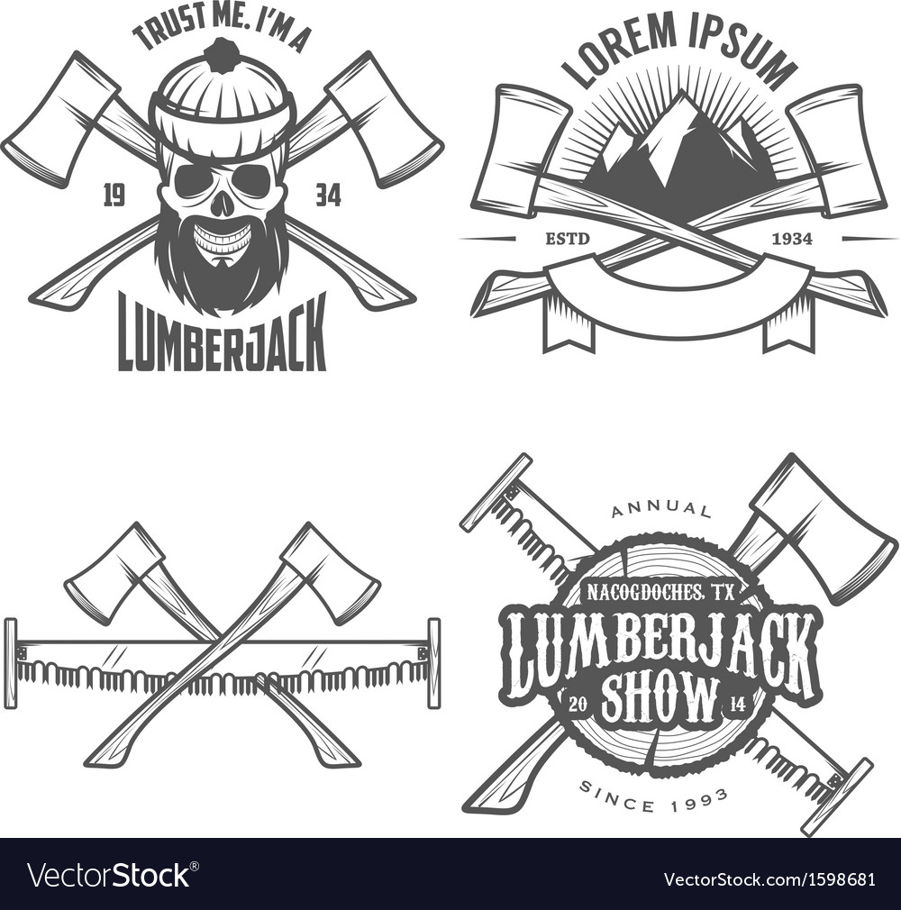 Set of vintage lumberjack design elements