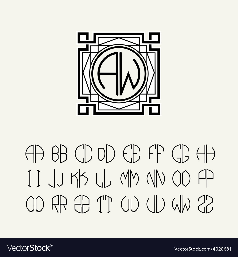 Template letters to create monograms