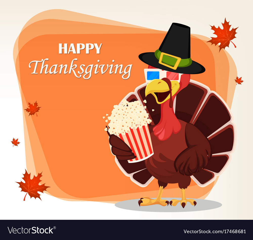Thanksgiving greeting card with a turkey bird vector image m4hsunfo